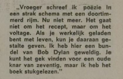 Fragment interview met A. den Doolaard over poezie en Bob Dylan