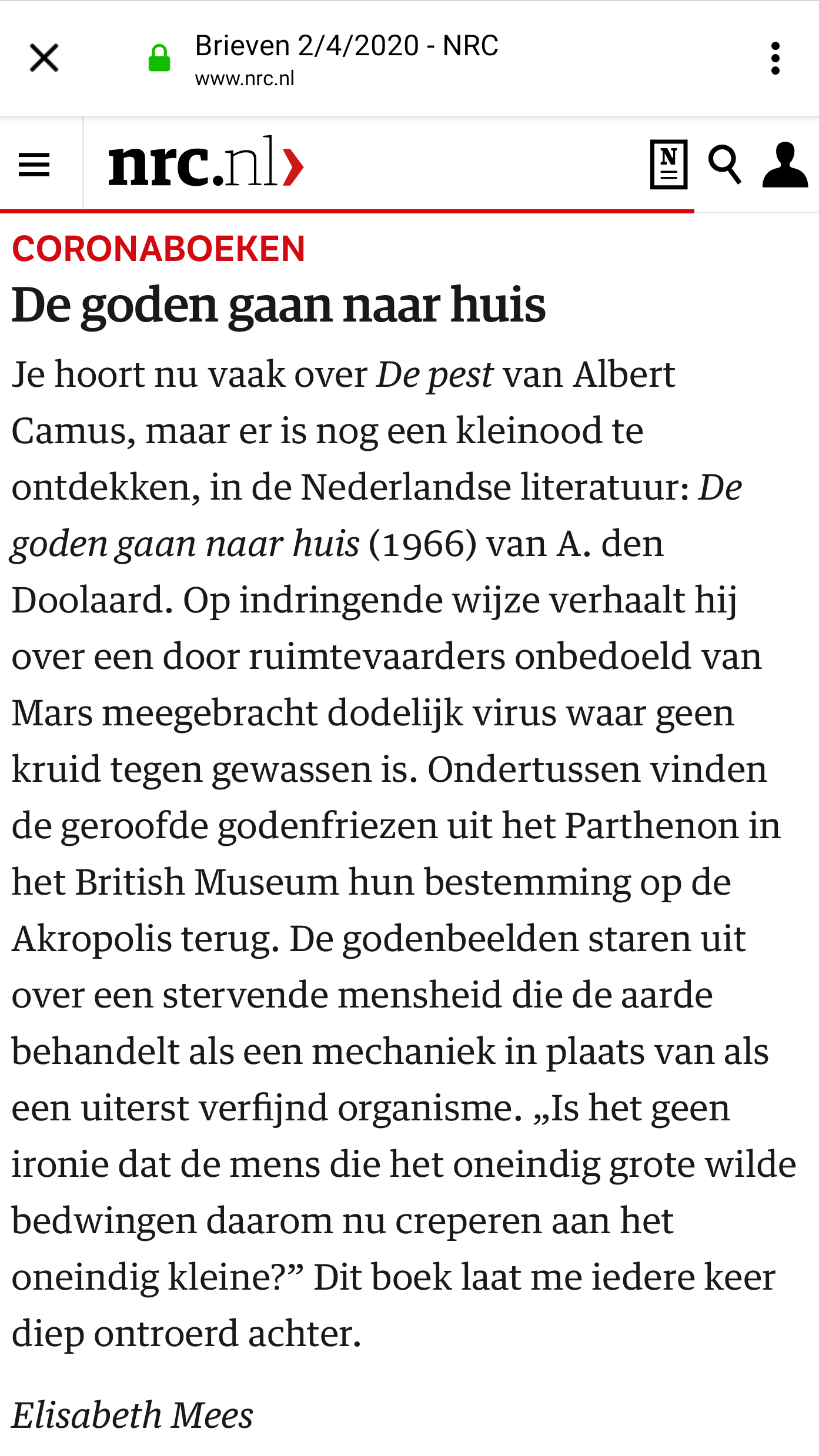Ingezonden brief in de NRC van 2 april 2020